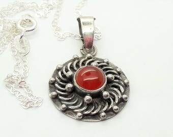 Carnelian Sterling Silver Pendant Necklace  /Vintage/Handmade/Free Shipping US  /Handmade/Christmas/Birthday/Valentine/Anniversary