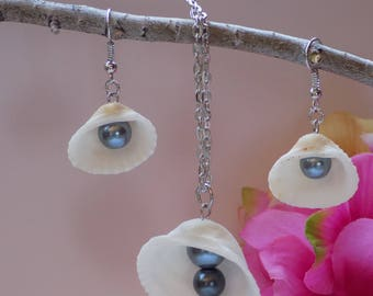 Seashell and Pearl Earrings & Necklace