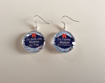 """Earrings """"I love you MOM just"""" and """"I'm a MOM to the top"""""""