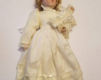 Vintage Porcelain doll holding baby dressed in beautiful off white dress,  Gorgeous porcelain doll, victorian porcelain doll