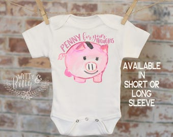 Penny For Your Thoughts Pig Onesie®, Piggy Bank Onesie, Funny Onesie, Animal Onesie, Cute Onesie, Boho Baby Onesie - 351P