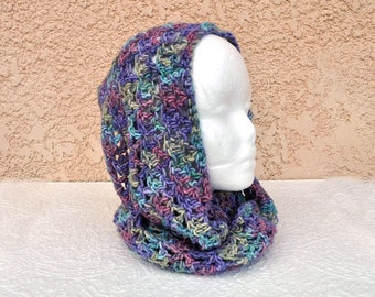 Hand-crocheted Infinity Scarf / Hood in hand-dyed, variegated, colorful super-soft, washable Merino wool