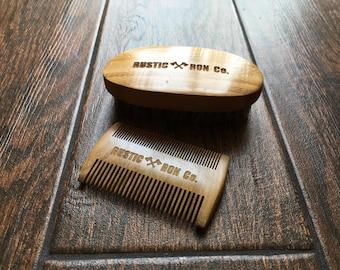 Beard Grooming Kit   Gift for Him   Beard Care   Beard Comb   Beard Brush   Wood Comb   Beard Care Products   Mustache Comb   Mustache Brush