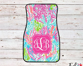 Monogrammed Lilly Inspired Car Mats - Let's Cha Cha