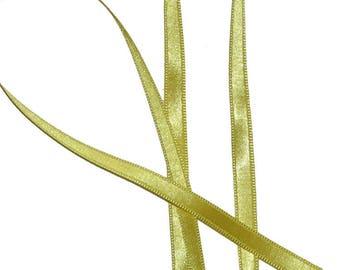 Bright yellow satin, 6mm, polyester Ribbon, 2 m long.