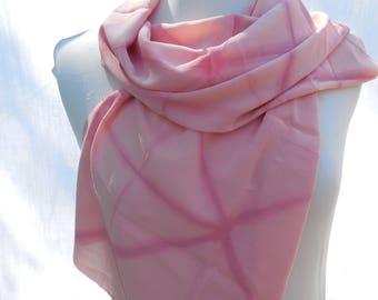 Pink silk crepe scarf