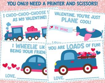 Vehicle Valentines Day Cards, Kids Valentines Day Cards, DIY Valentines, Printable Valentines Cards, Vehicle Cards, Kids Classroom Cards