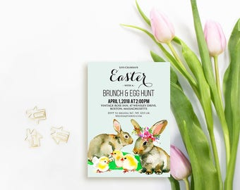 Easter Bunnies Party Invitation Easter Egg Hunt Printable Invitation Template Easter Brunch Watercolor Rabbits Spring Chick Blue Invitations