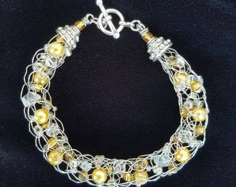 Silver and Gold Silver Wire, Quartz, Silver and Gold Bead Bracelet