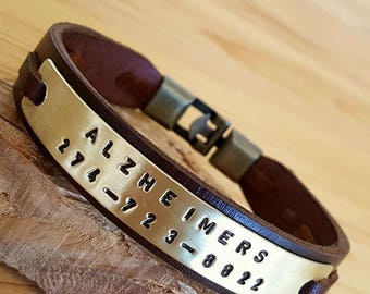 Men Bracelet, Leather Man Bracelet Personalized Bracelet Medical Alert Bracelet Medical ID Bracelet Men Gift