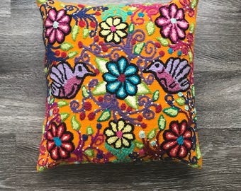 Hand embroidered floral pillow cover, 100% sheep wool, boho floral design, peruvian flower bouquet, accent pillow cover