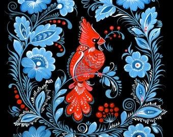 Red Cardinal Christmas Folk Art - Giclée Print - Petrykivka - Winter Bird - Decorative Wall Décor - Gouache Watercolour Fine Art