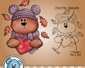 INSTANT DOWNLOAD - Digital Digi Stamp - Pom Pom Cinnamon
