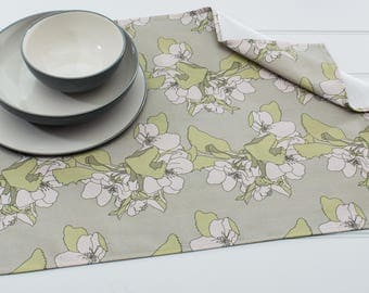 Tea Towel in Apple Blossom Sage Pattern Made from 100% Cotton