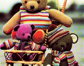 Vintage Crochet Bears with Knitted Clothes, Crochet Pattern. Knitting pattern, Instant Download