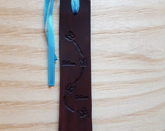 Leather Butterfly Believe Bookmark, Leather Bookmark, Bookmark