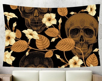Brown skull tapestry,skeleton tapestry,bohemian tapestry,wall tapestry,wall hanging,wall decor,room decor,Large tapestry,mandala tapestry