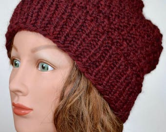 Dark red chunky hand knit hat / Women's textured warm winter hat / Slouchy knitted hat / 100% Pure wool hat