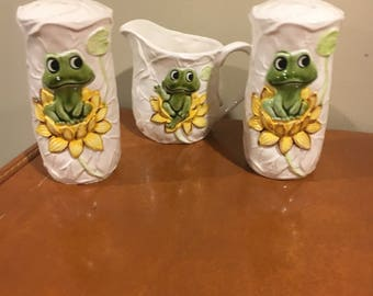 Sears Robuck and Co salt and pepper shakers and creamer, frog on lily