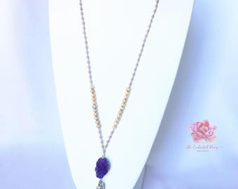Tassel Necklace | Long Necklace | Druzy Necklace | Pearl Necklace | Beaded Necklace | Purple Necklace | Casual Necklace | Boho Necklace