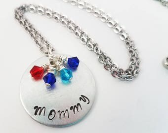 Mommy Hand Stamped Metal Jewelry Birthstone Neckace Mom Children Mother Jewelry Gifts for Her Birthstones