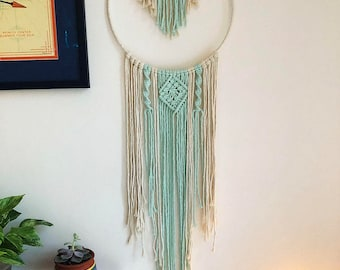 Large Blue and White Boho Macrame Dreamcatcher with Clear Quartz Point Crystal, Woven Wall Hanging, Bohemian Hippie Tapestry, Dream Catcher