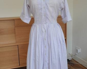 """Vintage 1960s Cotton Shirtwaist Dress by """"Serbin - Shirtwaister"""" L or XL"""