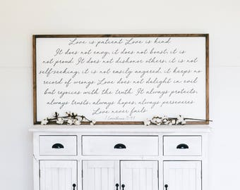 Love is Patient, Love is Kind | 1 Corinthians 13: 4-7 | Wooden Farmhouse Sign