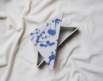 Vintage Handmade Pottery Blue and White Triangle Box