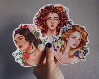 Flower girls sticker, sticker laptop, nature gift sticker, pack flower stickers, gift for her, gift for him, personalized gift, spring art