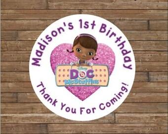 Personalized Doc McStuffins Stickers - Doc McStuffins Favor Tags - Doc McStuffins Birthday
