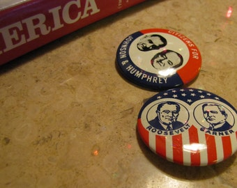 Set of 2 Vintage Political Campaign Buttons made by Kleenex Tissues in 1968 Johnson + Humphrey and Roosevelt + Garner