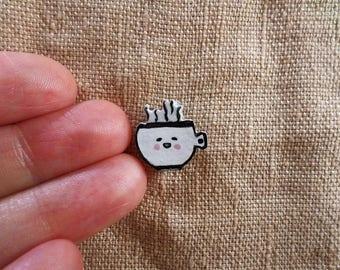 Tiny Tea Cup, Tea cup brooch, tea lover jewelry, tea lover gift, tea gifts, kawaii teacup, cute tea cup, tiny jewelry, kawaii brooch