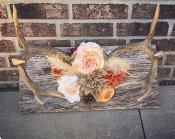 Custom Rustic Floral Antler Decor on Barnwood