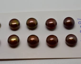 7-8 mm Half Drilled Cultured Freshwater Pearl Pairs Chocolate colored (5 pairs per order)