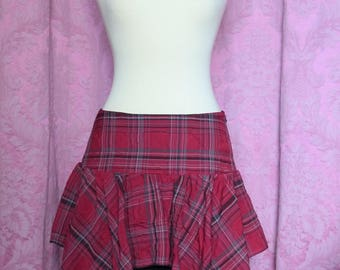 Scottish red tartan with black underskirt and lace skirt