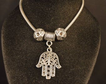 HAMSA  CHARM BRACELET Fashion Jewelry  silver  tone  Brand New!   Good Luck  ward off Evil Eye   hand   Middle East  fortune  life  health