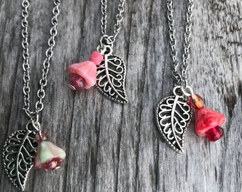 Leaf Necklace, Flower Necklaces for Women, Necklaces for Women, Czech Glass Necklace, Pendant Necklaces for Women, Gardener Gift, Women