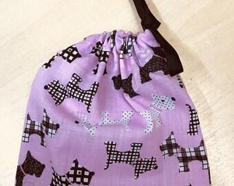 Handmade DOG TREATS BAG - Pink & Black Scottie Dogs, Drawstring Bag