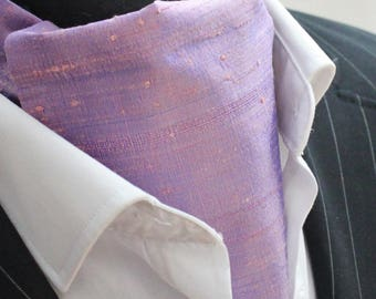 Cravat Ascot.100% Silk Front UK Made. Shot Mauve Dupion Silk + matching hanky.