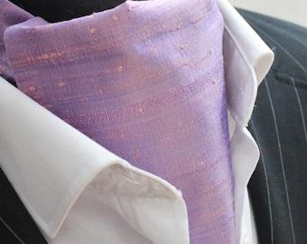 Cravat Ascot.100% Silk Front UK Made. Shot Mauve Dupion Silk + matching hanky.
