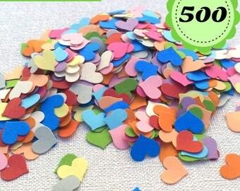 Confetti hearts. Multicolor. 500 confetti. Wedding, birthday, Baby Shower