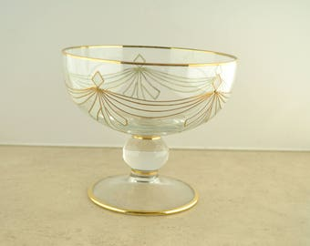 Vintage Clear Glass Candy Dish with Gold and Frosted Accents