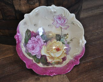 Handpainted PS Germany - Made in Germany - Rose Serving Bowl