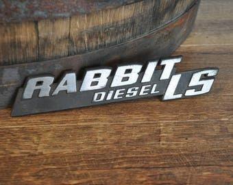 Vintage Volkswagon VW Rabbit Diesel LS Rear Hatch Badge
