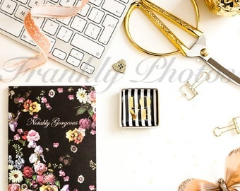 Instagram Square / Black & Gold Desk Styled Stock Photo / Styled Stock Photography / Styled Desktop / Flatlay / Frankly Photos File #2sq