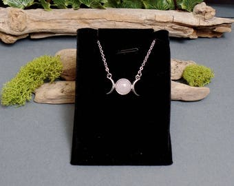 Dainty Pink Triple Moon Necklace - Gemstone Triple Moon Necklace - Triple Moon Goddess - Goddess Moon Necklace - Rose Quartz Moon Necklace