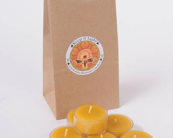 100% Pure Yellow Beeswax Tea-Light Candles-12 tea-lights. Primed all-cotton wicking. Clear polycarbonate cups.
