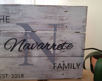 Family Name rustic sign pallet wood farmhouse decor
