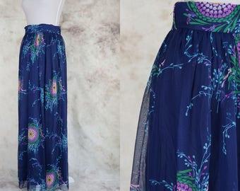 70s Floral Skirt, Boho Skirt, Psychedelic Skirt, Vintage Hippie Skirt 1970, Size S, Size Medium, Small Medium, Festival Clothing